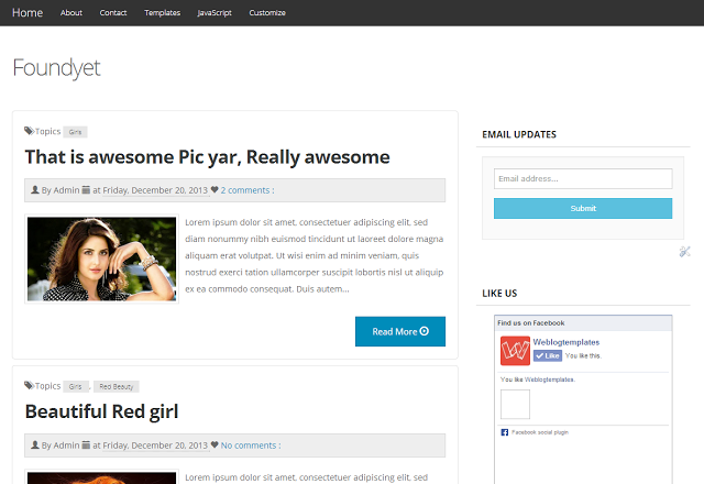 Foundyet Bootswatch Yeti Responsive Blogger Template