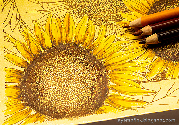 Layers of ink - Sunflowers with colored pencils tutorial by Anna-Karin Evaldsson. Color the sunflowers with Prismacolor colored pencils.