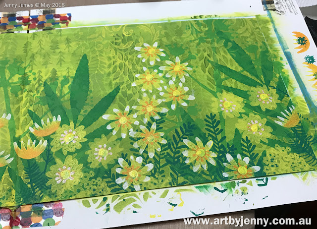 creating a garden using Dylusions acrylic paint with stencils and foam stamps