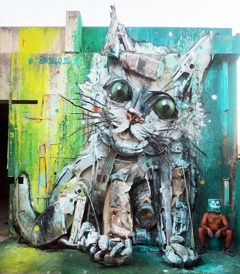 Street Artist Transforms Ordinary Junk Into Animals To Remind About Pollution - Trash Kitten
