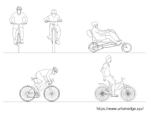 Cyclists free cad blocks download (Human Figure) - 5 Dwg Models