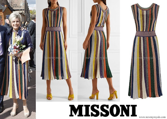 Princess Laurentien wore Missoni Convertible wrap-effect pleated metallic knitted dress