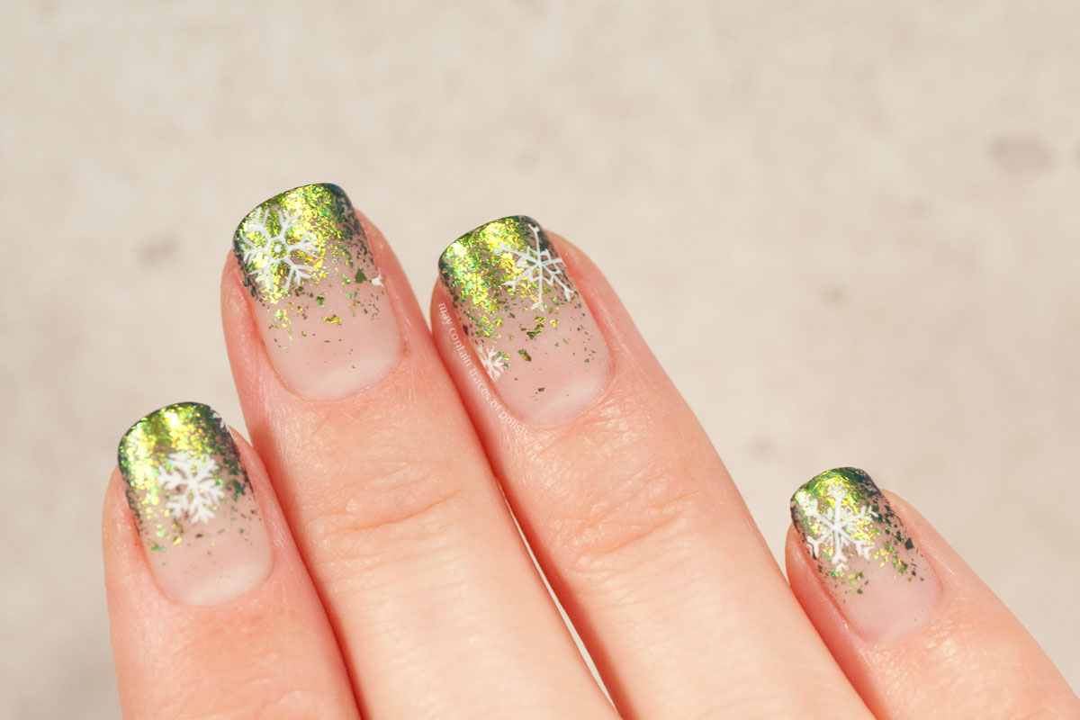 Ultra Chrome Flakie Snowflake Nail Art Design with ILNP Open Fields
