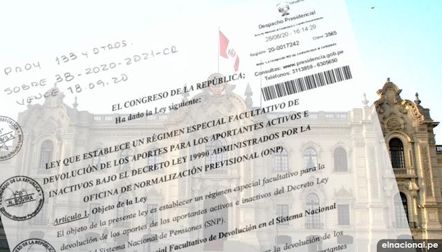 Ejecutivo recibió autógrafa de ley sobre devolución de aportes de la ONP