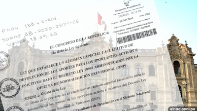 Congreso entregó al Ejecutivo autógrafa de ley sobre devolución de aportes de la ONP
