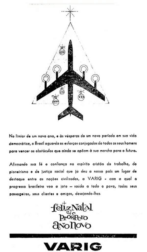 Anúncio da Varig promovendo os bons desejos para o ano de 1961