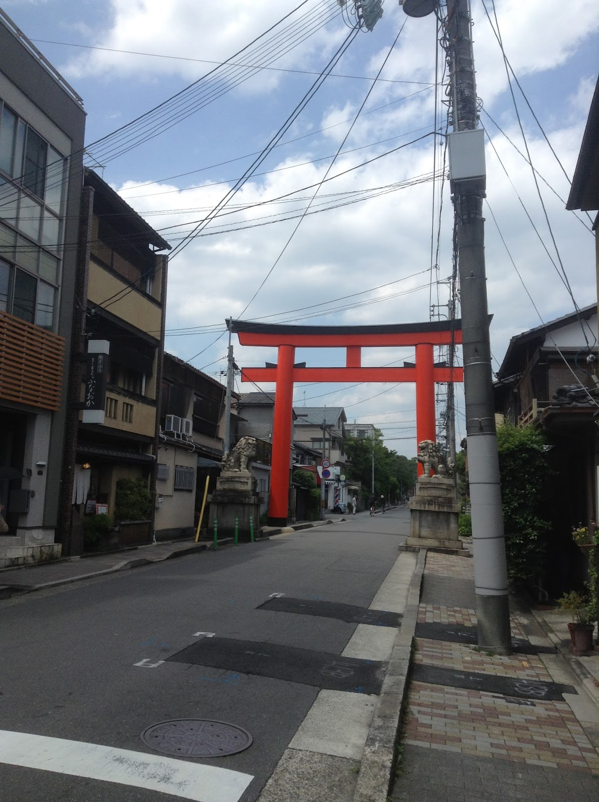 Kyoto side street and Torii
