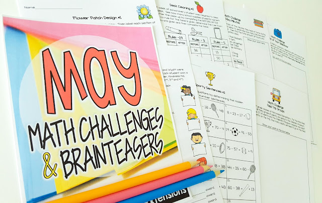 Print-and-go math challenges and brainteasers with end of the school year and seasonal themes for May! 26 math printables with answer keys you can use for math groups, homework, fast finishers, holiday centers, or whole class problem solving! May themes include: Field Day, Ice Cream, Awards Assemblies, Talent Shows, Class Parties, Field Trips, Mother's Day, Desk Cleaning, Sports, Gardens, and Flowers