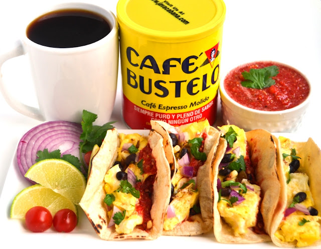 Breakfast Tacos with Fresh Tomato Salsa are ready in 10-minutes and are filled with scrambled eggs, black beans and homemade, flavorful salsa made with garden fresh tomatoes! www.nutritionistreviews.com
