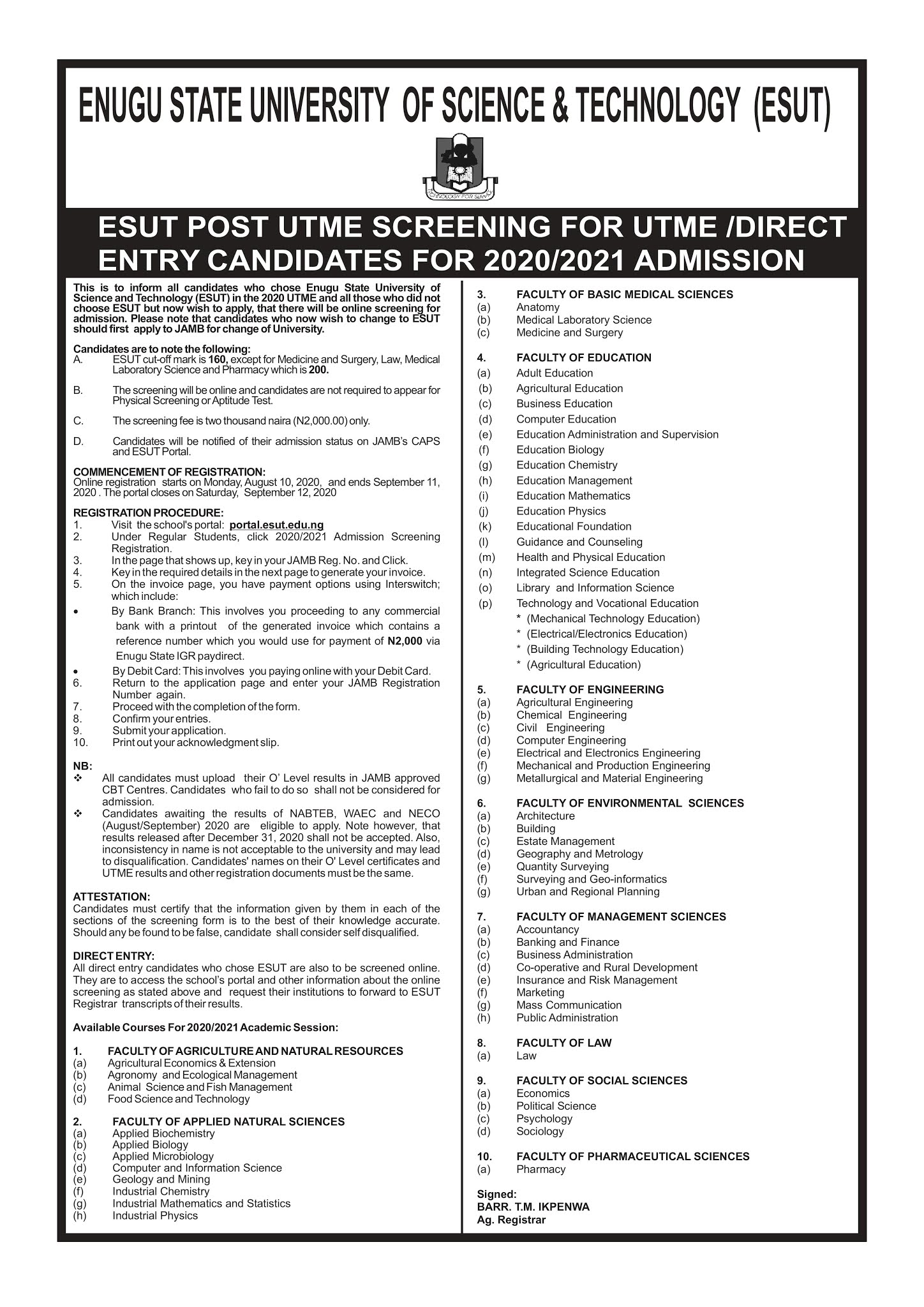 ESUT Post-UTME & DE Screening Form 2020/2021 is Out
