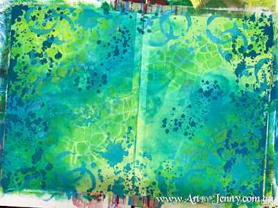 an overview of the background for Mixed Media artwork by Jenny James featuring the theme Bucket List