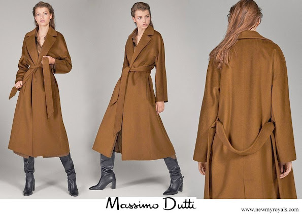 Meghan Markle wore Massimo Dutti long wool coat with belt