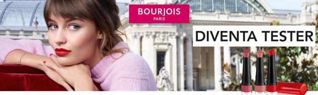 clicca qui per candidarti come tester del rossetto e mascara Bourjois