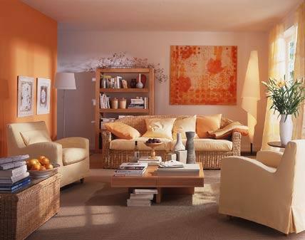 Paredes de sala en color naranja ideas para decorar - Como adornar una pared ...