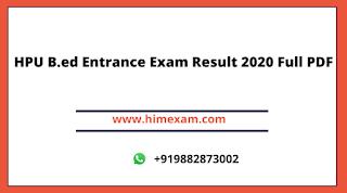 HPU B.ed Entrance Exam Result 2020 Full PDF