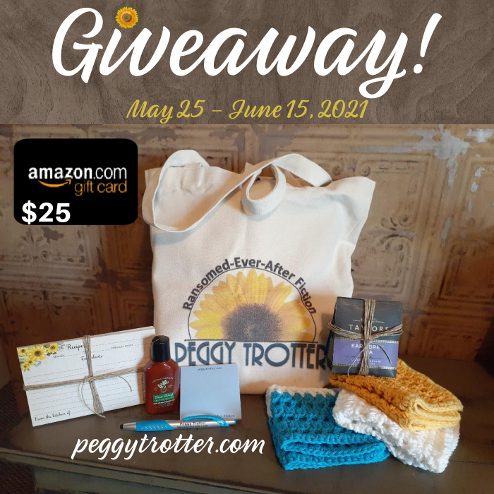 $25 Amazon Gift Card and Peggy Trotter Prize Package