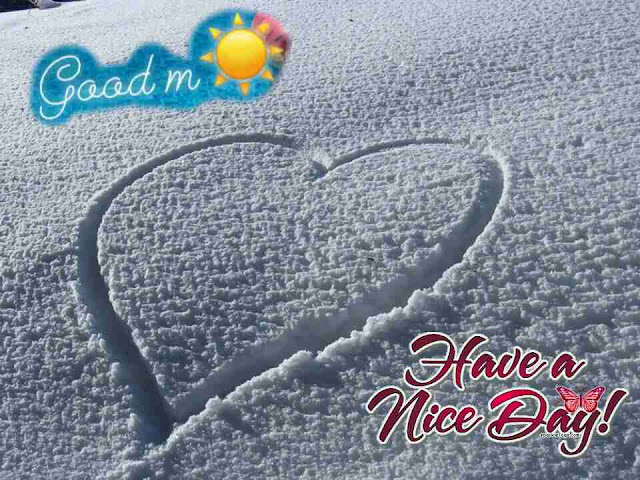 Beautiful good morning picture of cute heart on sand