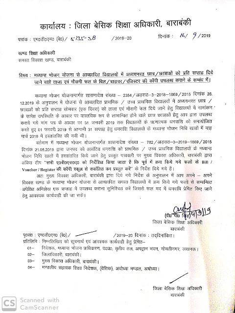 एमडीएम के तहत बांटे जाने वाले फलों के बिल/बाउचर रजिस्टर उपलब्ध कराने का आदेश जारी,cdo barabanki के निर्देश पर bsa ने जारी किया आदेश