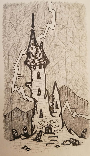 A tower among the stars! I'd be happy to draw you any sort of fantastical landscape you could imagine.