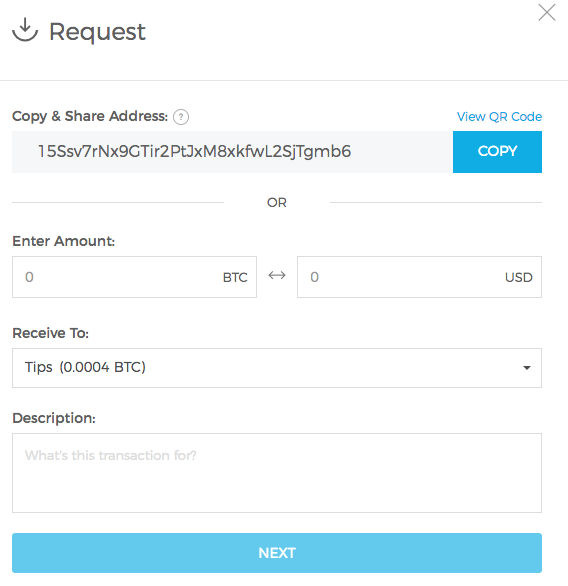 Requesting Bitcoin in your blockchain wallet