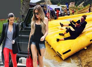 Kim Kardashian y Kloe en LA Mud Run