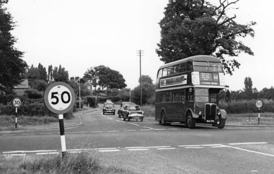 Photograph of Dixons Hill crossroads looking towards Welham Green, July 1966 - Image from R. Kingdon
