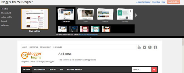 The Good things about Blogger : It is easy to customize Blogger template using Blogger Theme Designer