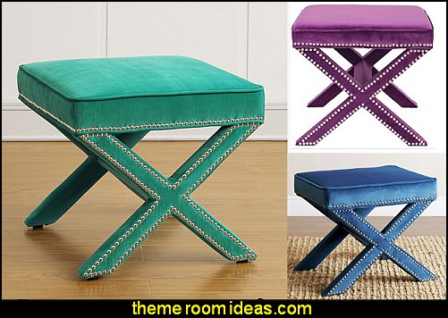 Reese Velvet Ottomans overstock furniture