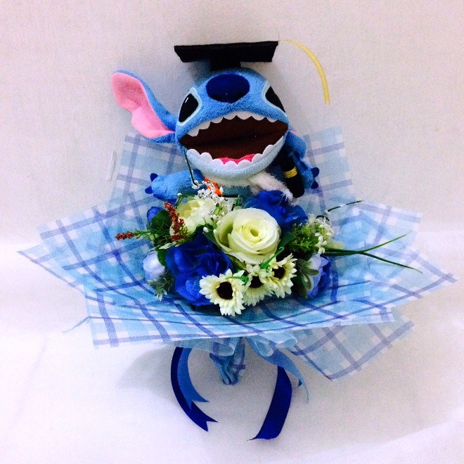 Contoh Buket Bunga Wisuda Cantik Warna Biru