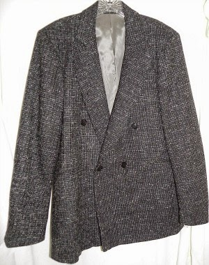 Original 80s double-breasted, grey wool fleck suit jacket