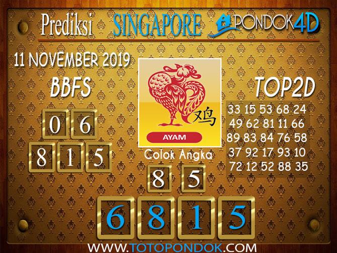 Prediksi Togel SINGAPORE PONDOK4D 11 NOVEMBER 2019