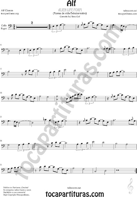 Alf Partitura de Chelo y Fagot Sheet Music for Cello Bassoon