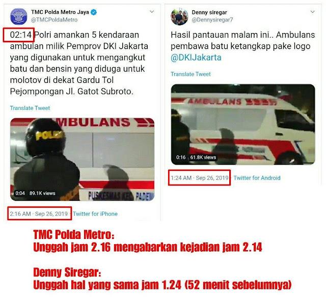 Akun Denny Siregar Lebih Dulu Unggah Ambulans Pembawa Batu daripada Polisi
