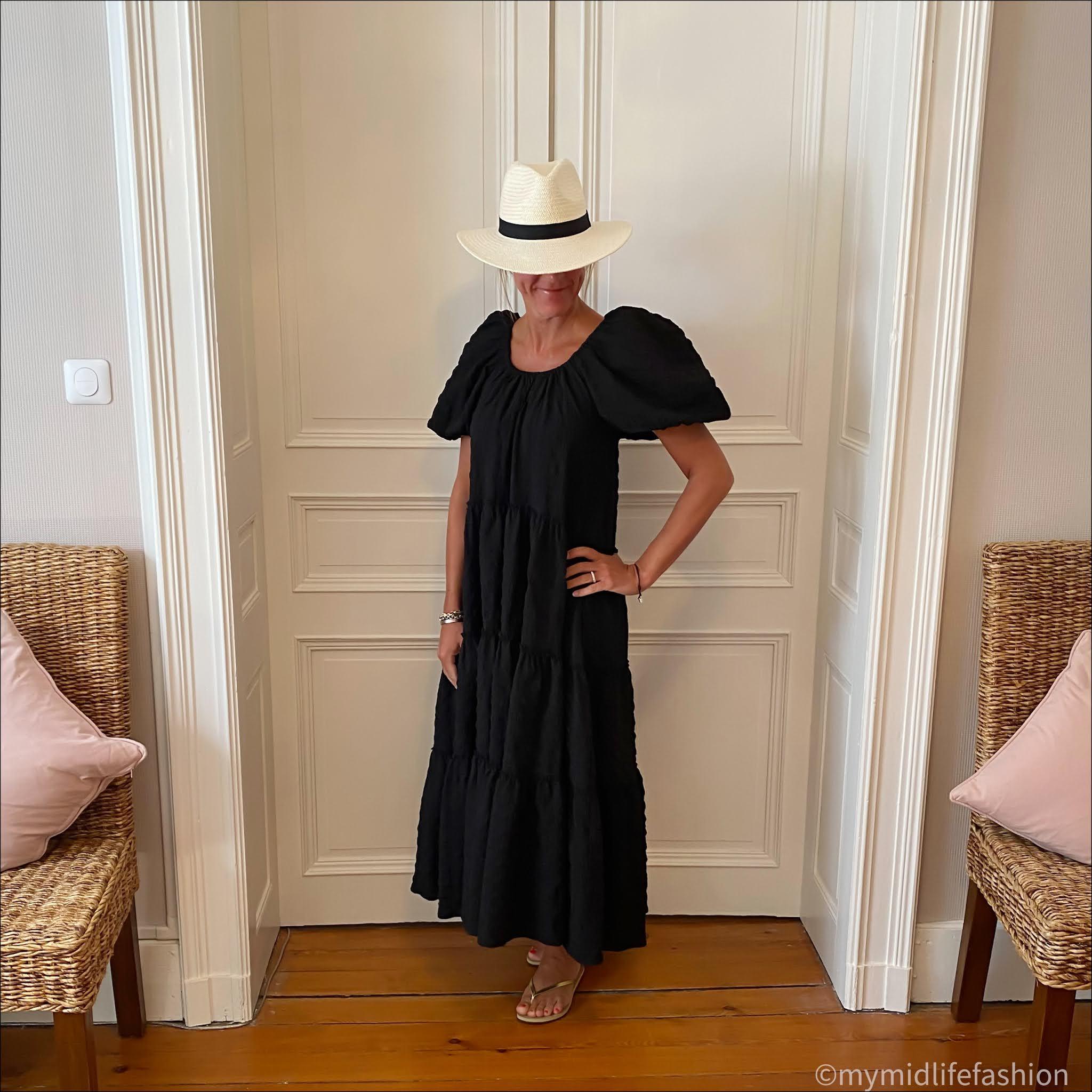 my midlife fashion, zara straw Panama hat, zara oversized puff sleeve maxi dress, havaianas slim fit gold flip flops