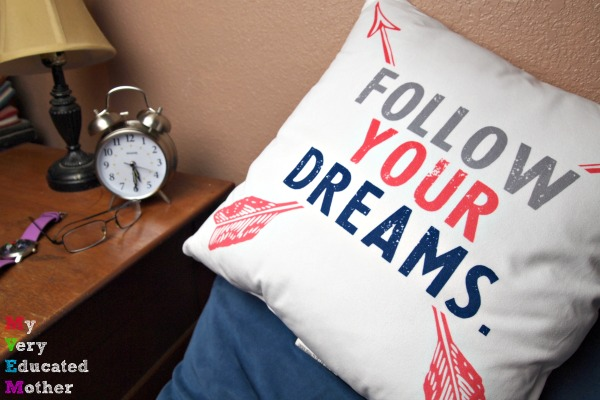 Throw pillows are a quick and easy way to dress up any dorm room!