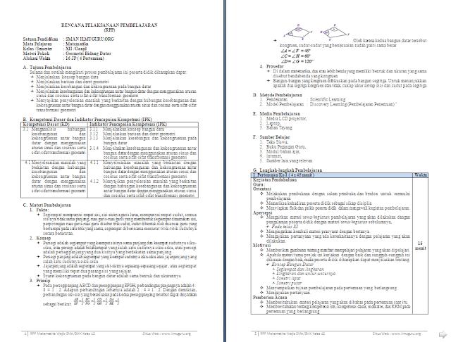RPP 1 Lembar Matematika Wajib Kelas 12 SMA/MA Semester 1