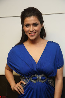 Mannara Chopra in Short Blue Dress at Rogue Movie Teaser Launch 1st March 2017 114.JPG