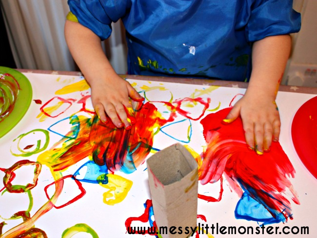 Painting for toddlers. Learn shapes with process art,