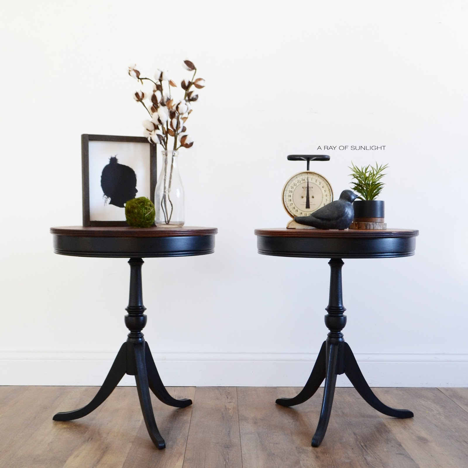 Pair of Matching Black Antique Drum Tables in Old Barn Milk Paint