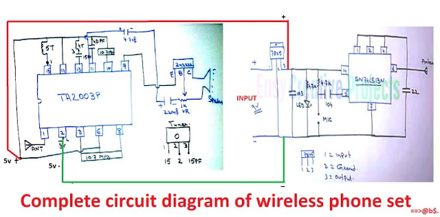 Complete circuit diagram of wireless phone set
