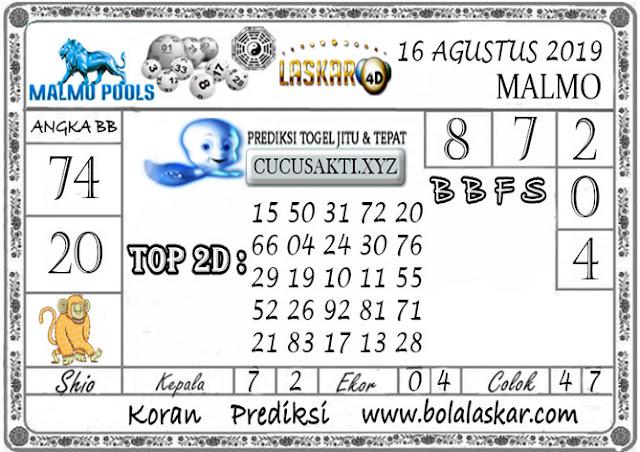 Prediksi Togel Jitu MALMO LASKAR4D 16 AGUSTUS 2019
