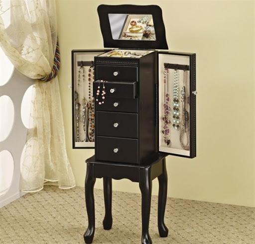black jewelry armoire