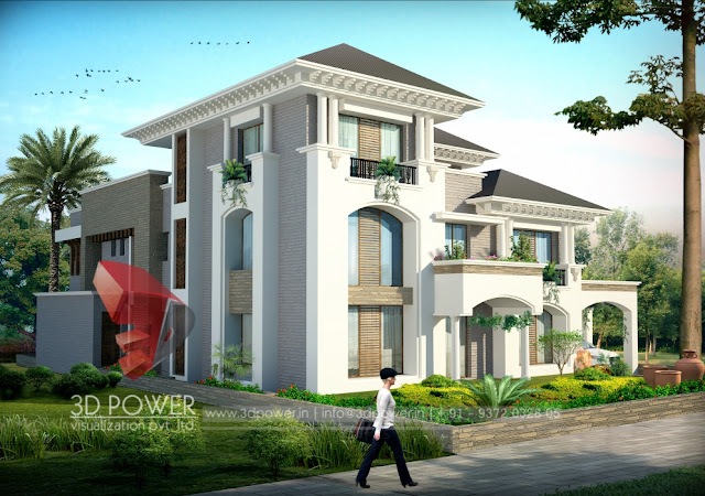 best bungalow construction plans. Small Curve Roof Single Floor Home  Best Bungalow Design 3d animation rendering walkthrough interior cut