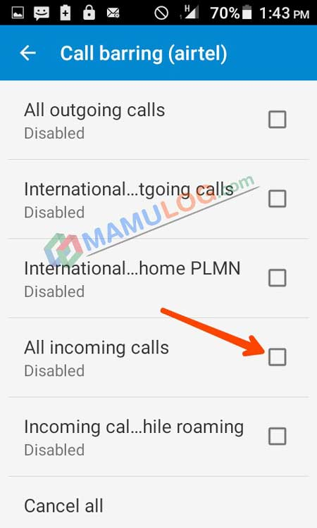 disable incoming calls