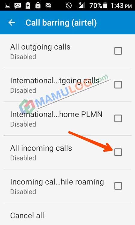 disable incoming calls