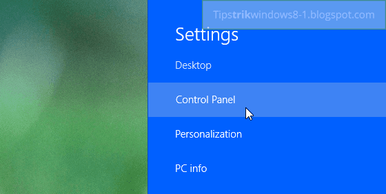 klik control panel di windows 8.1