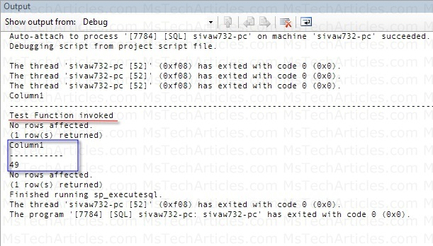 Test Result in the Output Window