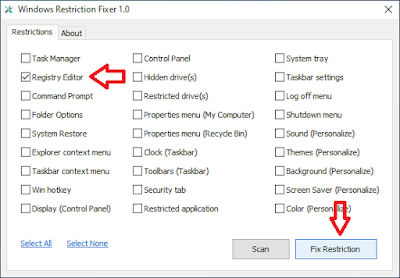 cara mengatasi regedit windows restriction fixer