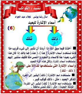 مذكرة شرح نشيد الكواكب للصف الثاني الابتدائي الترم الاول للاستاذة نجلاء عبد الجواد