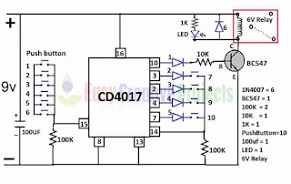 simple key code lock switch circuit diagram
